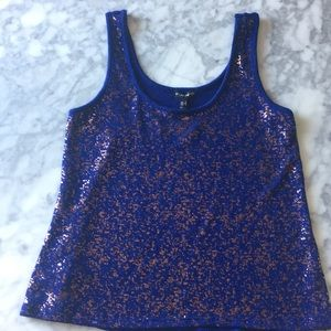 Blue and copper print tank top